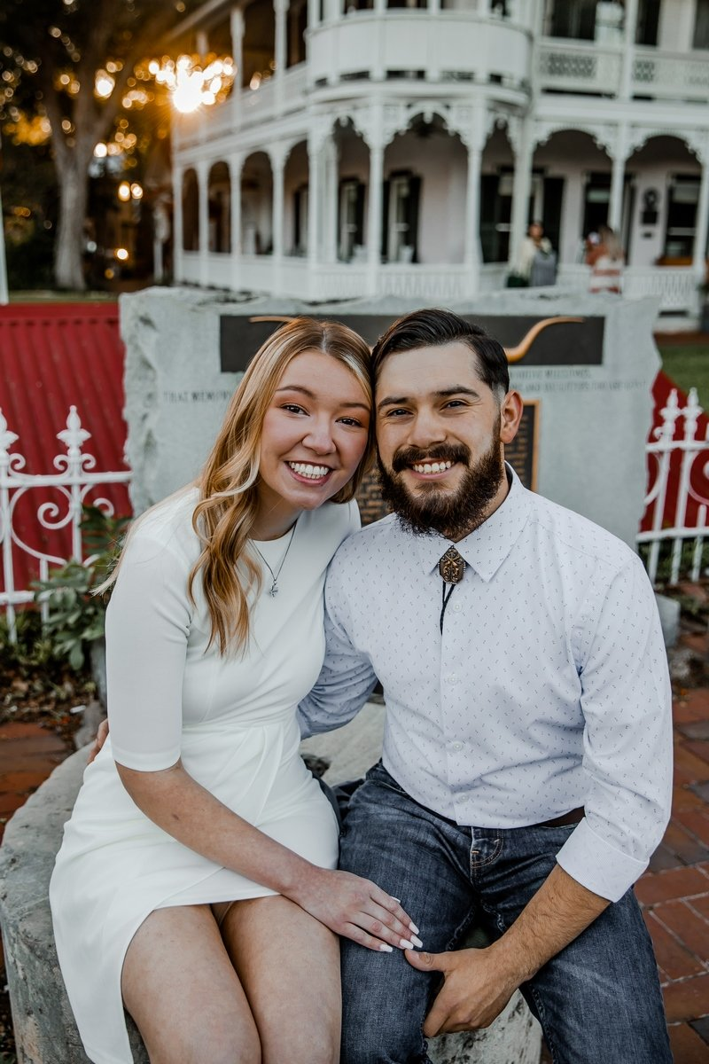 engagement photo blonde bride groom with beard