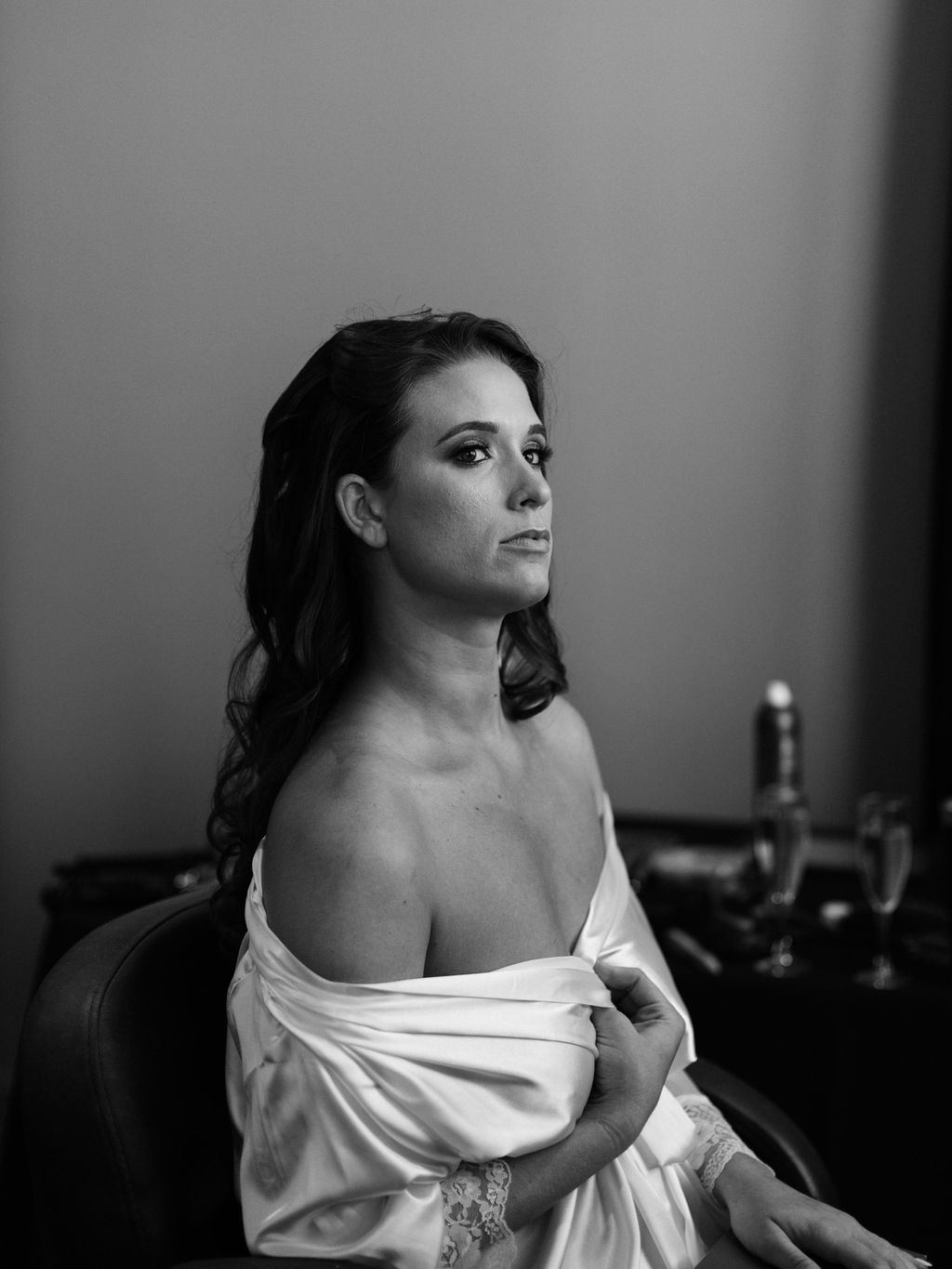 black and white bridal portrait at st Anthony hotel