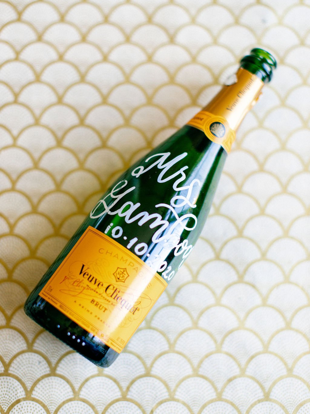 hand painted champagne bottle wedding inspiration