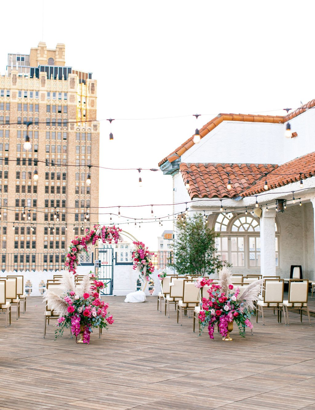 wedding aisle rooftop of st Anthony