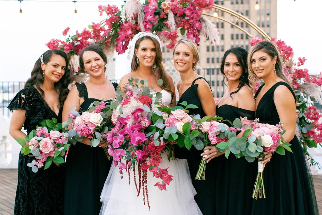Bride and bridal party at The St. Anthony Hotel