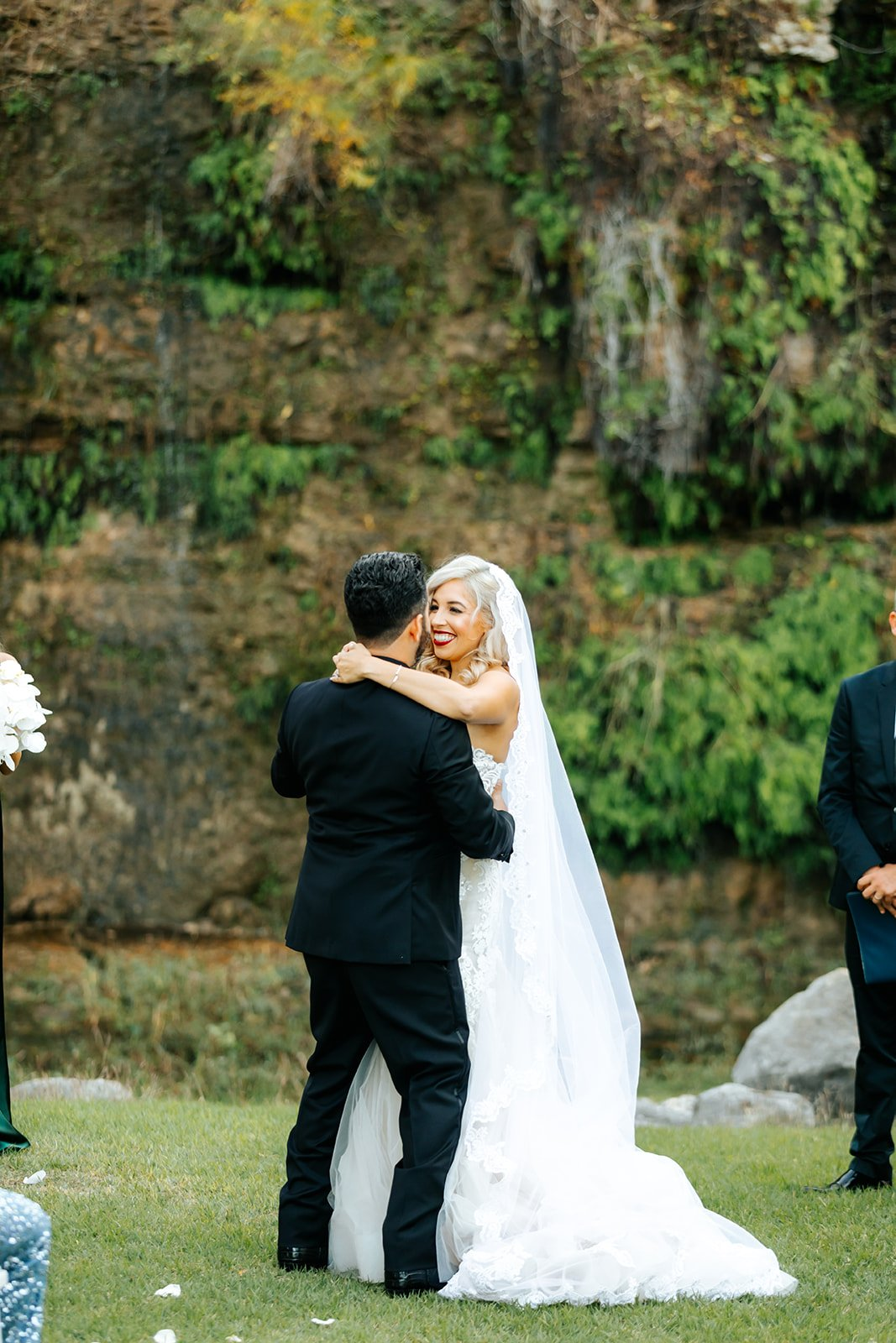 newly wed couple first dance right after ceremony