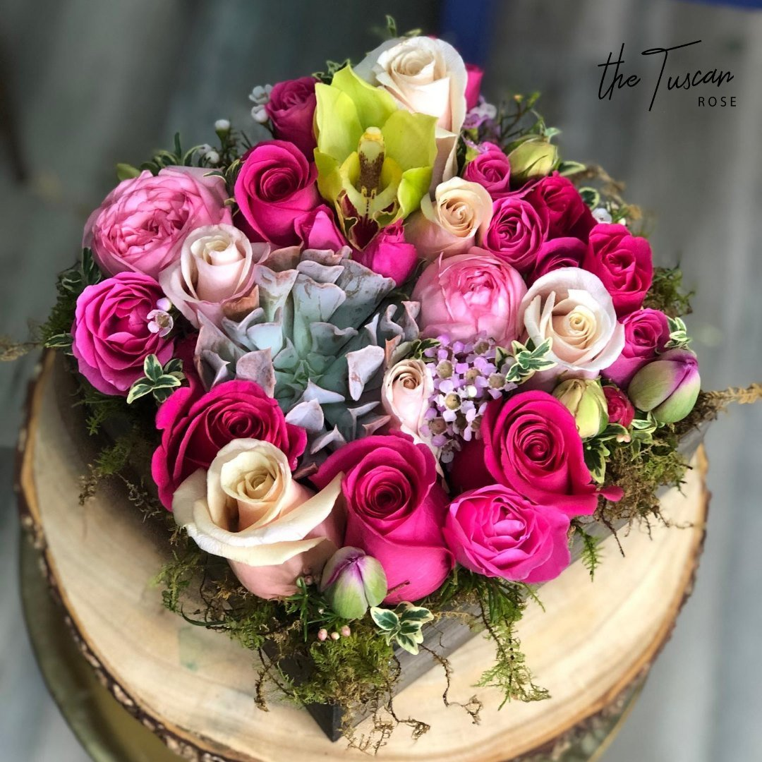 the tuscan rose freesia designs valentines day bouquets at San Antonio Weddings