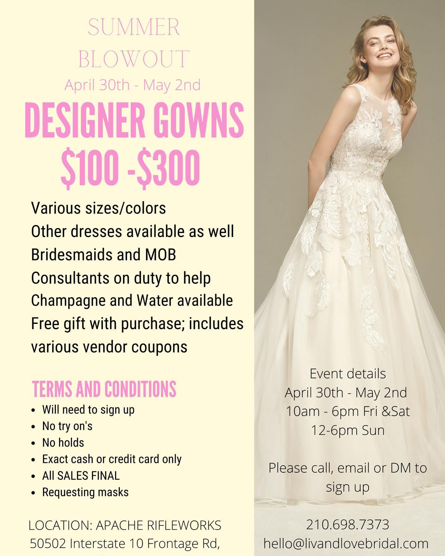 liv and love bridal shop in San Antonio texas huge summer blowout sale