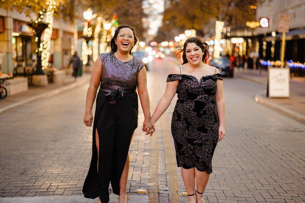 same sex couple engagement photo's in downtown San Antonio Texas