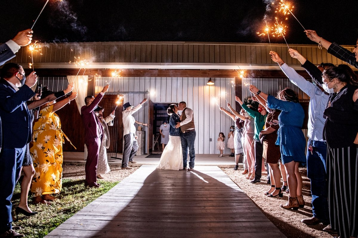 Bride and groom send off with sparklers