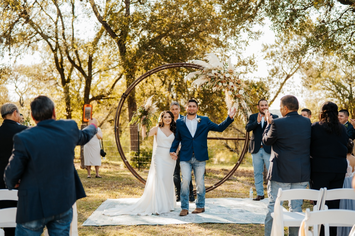 couple wedding ceremony at Harper Hill Ranch