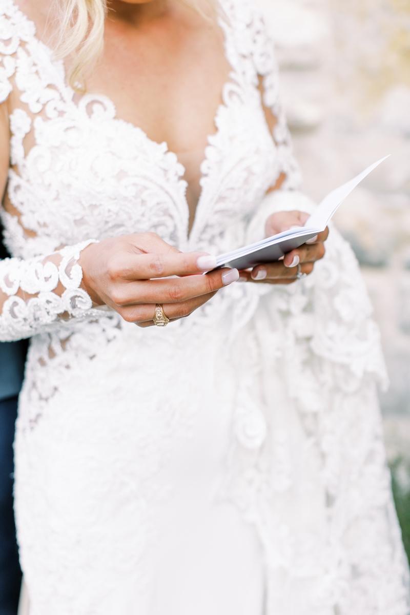bride reading her vows in San Antonio