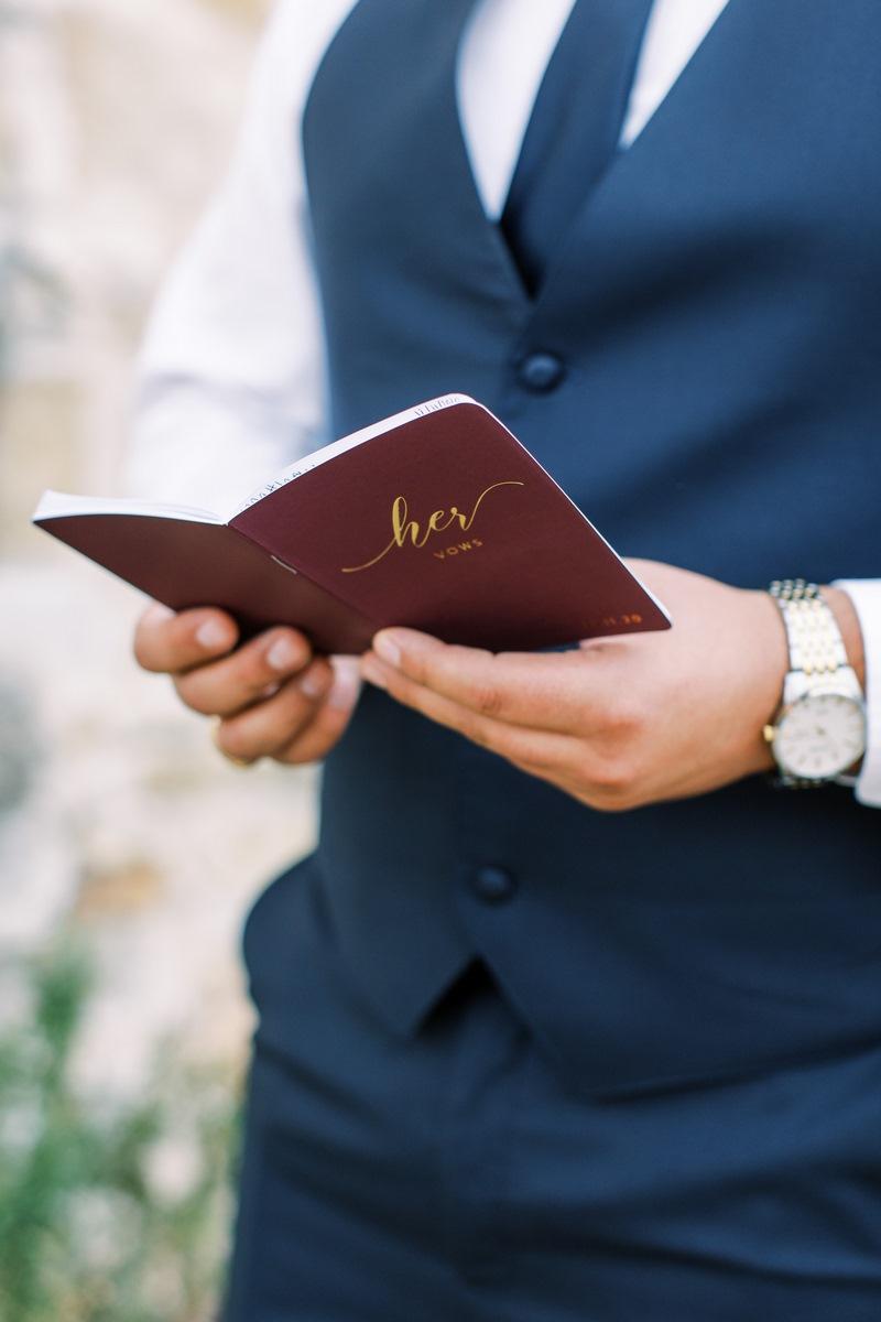 groom reading his vows in San Antonio