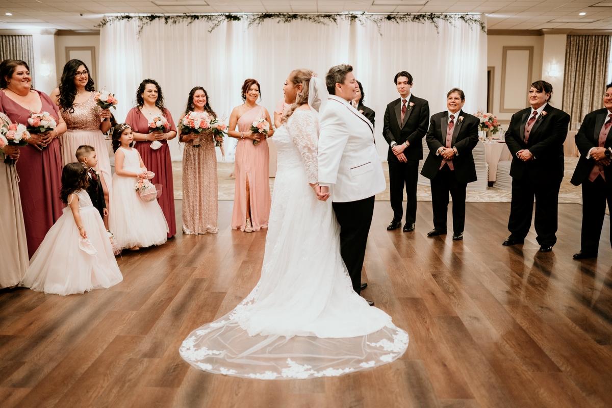 San Antonio Weddings couple, Margaret and Mary's, wedding photos at Phoenician Ballroom