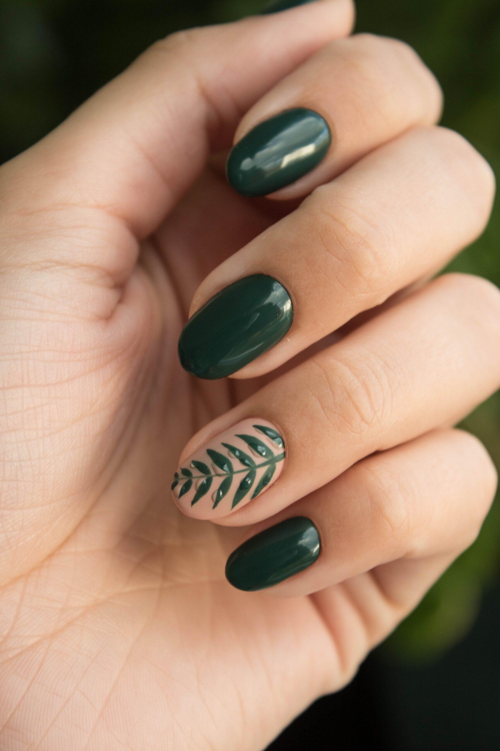 nature inspired wedding day nail art