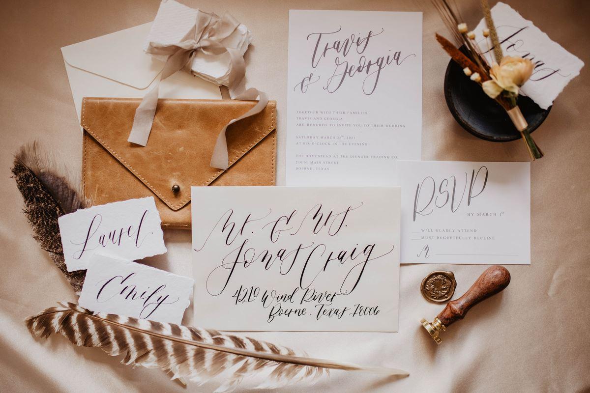 San Antonio Weddings Homestead Styled Shoot - Lazy Creek Designs' handwritten calligraphy invitations/place cards