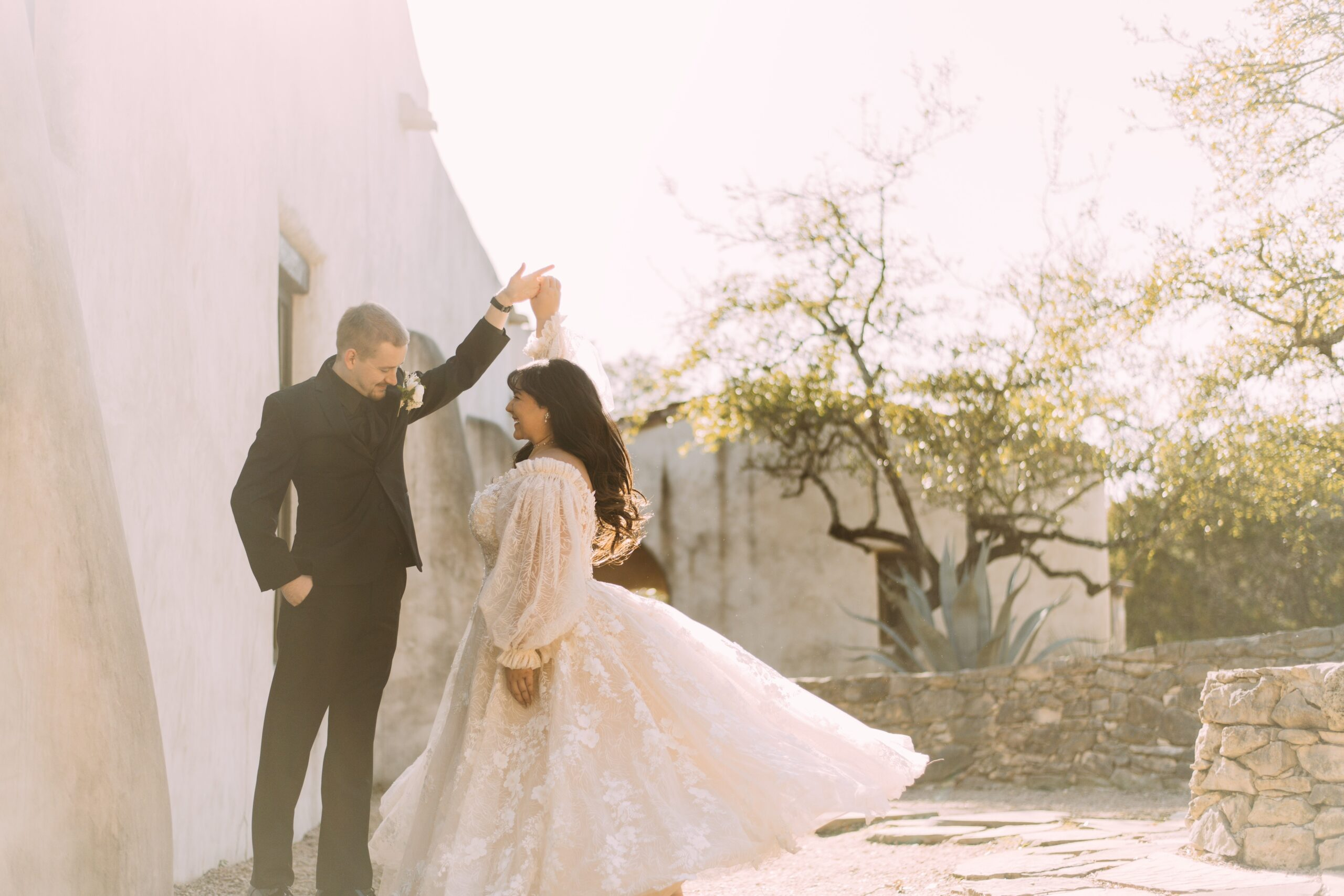 San Antonio Weddings couple, Alyssa and Brandon, at Lost Missions