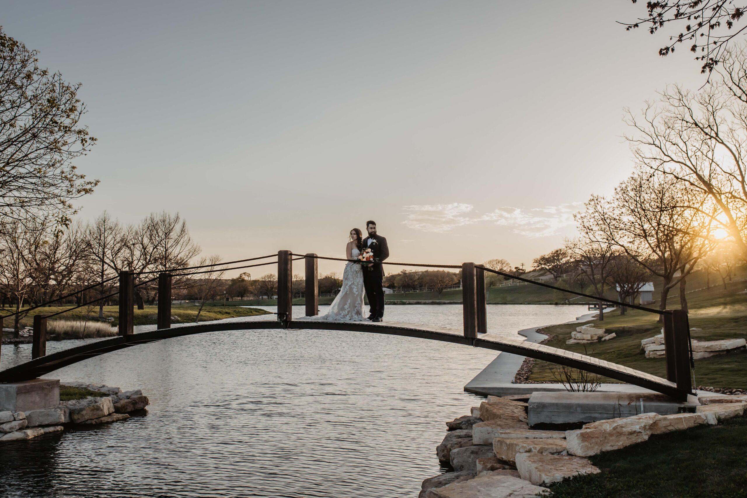 couple on the Sendera Springs bridge